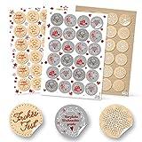 SET 6 x 24 rot grau weiß natur Weihnachtsaufkleber Aufkleber FROHE WEIHNACHTEN FROHES FEST + SCHNEEFLOCKE Verpackung Geschenkaufkleber vintage rund 4 cm Deko weihnachtlich Geschenkverpackung