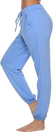 Abollria Pigiama Pantaloni Cotone da Donna, Donna Larghi con Coulisse Trousers per Casual Yoga Jogging Sportivi