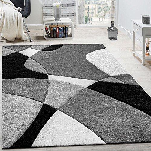 Paco Home Alfombra De Diseño Moderna Estampado Geométrico Contorneada En Negro Blanco, tamaño:120x170 cm