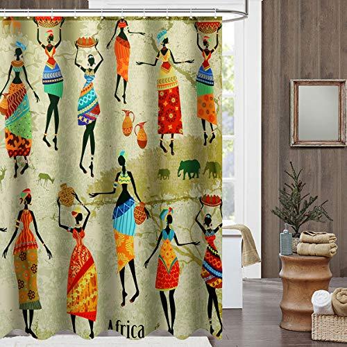 Kungfu Mall wasserdichtbadezimmer Vorhang Benutzerdefinierte unverwechselbare Cartoon afrikanische Frau Muster Badezimmer Dusche Vorhang