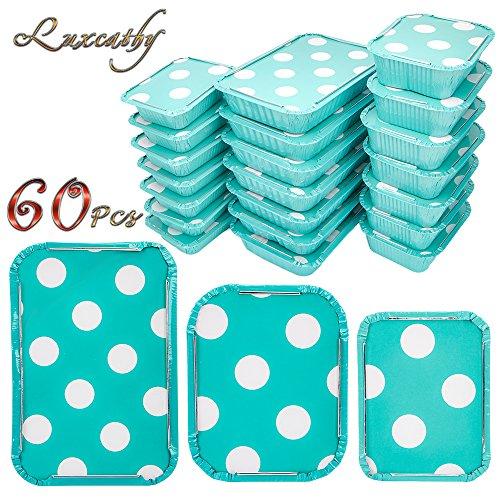 Folien-kochen-pfannen (Luxcathy Einweg Aluminium Oblong Folienbehälter mit Deckel zum Mitnehmen, Backen, Kochen, Einfrieren, gedämpft und Lagerung (60-Counts umfasst 700ML + 440ML + 230ML) (Pink) (Blue))