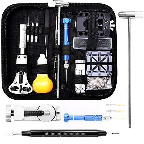 Uhrenwerkzeug Set 15tlg, Eventronic Uhr Reparatur Uhrmacherwerkzeug Uhr Werkzeug Tasche Watch Tools in Schwarze Nylontasche
