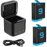 AuyKoo 2 stuks accu's 1750mAh + 3-kanaals oplader voor GoPro Hero 9 Black Hero 10 Black, snellader batterij-opslag draagtas +