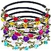 ZOCONE Multicolore Ghirlande, 15 Pezzi Fasce del Fiori Fasce Capelli Fiori Multicolore Fasce con Nastro Elastico Regolabile per Donne Ragazze (A)
