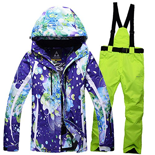 DYF Männer/Frauen Mantel Ski Jacke Hose Anzug wasserdicht Winddicht warmen Reißverschluss, lila gelb, M
