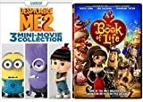 Despicable Me 2: 3 Mini-Movie Collection with Minions & Book of Life DVD Animated Set by Sandra Bullock
