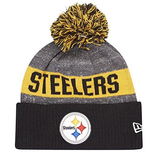 New Era NFL Sideline Bobble Knit Pitste OTC - Schirmmütze Linie Pittsburgh Steelers für Herren, Farbe Schwarz, Größe OSFA