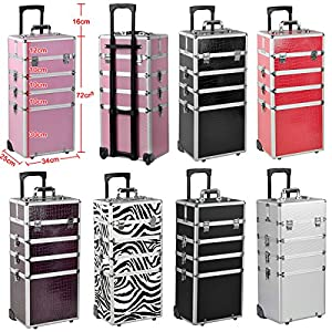 Smallwise Trading All in1 Hairdressing Makeup Beauty Nail Jewelry Case Cosmetic Trolley Beauty Box Make Up Case in Various Colours