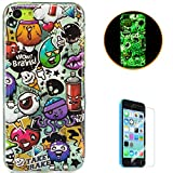KaseHom Compatible for iPhone 5C Coque Lumineux TPU Cas, Doux Clair Gel de Silicone...