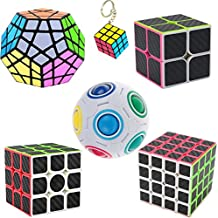 Rompecabezas Cubo de fibra de carbono, 2x2x2,3x3x3, 4x4x4,Megaminx,Magic Rainbow Ball Puzzle Cube,Mini Cubo del juego llaveros