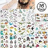 Yolistar Tatuaggi temporanei per Bambini, 16 Foglio 4 Style Falso Tatuaggio Tattoos Adesivi per Bambini Festa di Compleanno Sacchetti Regalo Giocattolo, Animale, Unicorno, Pinguino, Dinosauro