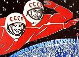 Vintage ruso Unión Soviética espacio Propaganda gloria a la patria de los héroes c1960250gsm brillante Art Tarjeta A3reproducción de póster