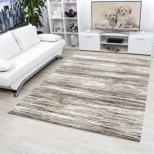Modern designer hochwertige Teppich für Wohnzimmer, Gästezimmer, Esszimmer kurzflor meliert gestreift Teppiche, mit modernen Farben Braun Beige Cream 3600, Maße:120x170 cm