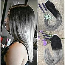 Full Shine 24 Pulgada 40 Piezas 100gram Per Package Remy Pelo Human Hair Ombre Tape Glue in Hair Extensiones de Cabello Black & Silver