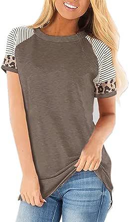 CNFIO Maglietta Rotondo Maniche Lunghe/Corta Maglieria Basic Shirt Eleganti Lady Camicetta Stampa Leopardo Top Casual Maglia Manica Lunga Donna