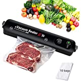 Vacuum Sealer with 10 Vacuum Sealer Bags,Upgraded Automatic Food Sealer Machine for Food Preservation & LED Indicator Dry & M