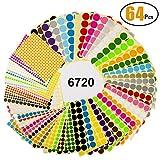 64 Blatt Markierungspunkte Witasm 6720 Klebepunkte Ø 8mm / 16mm / 25mm / 32mm runde Punktaufkleber, 16 verschiedene sortierte Farben Klebrige Aufkleber Punkte