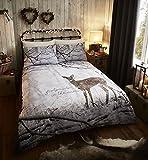 Catherine Lansfield - Bettwäsche-Set & Kissenbezüge - weihnachtlich - Baumwollmischung - UK-Kingsize - Reh im Winterwald