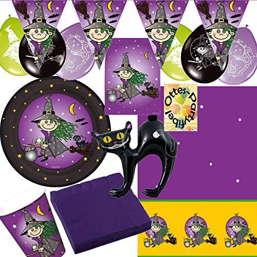 Kleine Hexe Party-Set für 8 Kinder 55 Teile Teller Becher Servietten Tischdecke Tüten Luftballons Wimpel Katze