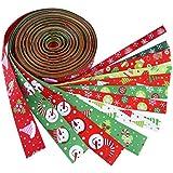 Outus Cinta de Navidad Cinta de Grogrén de Fiesta de Invierno 6,6 Pies, 12 Piezas, Multicolor