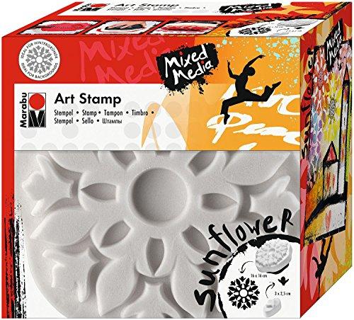 Marabu 0272000000001 - Art Stamp, feinporiger Motivstempel für Bordüren und Hintergründe, ideal für Mixed Media Projekte auf Leinwand, Papier und Holz, ca. 16 x 16 cm, Sunflower