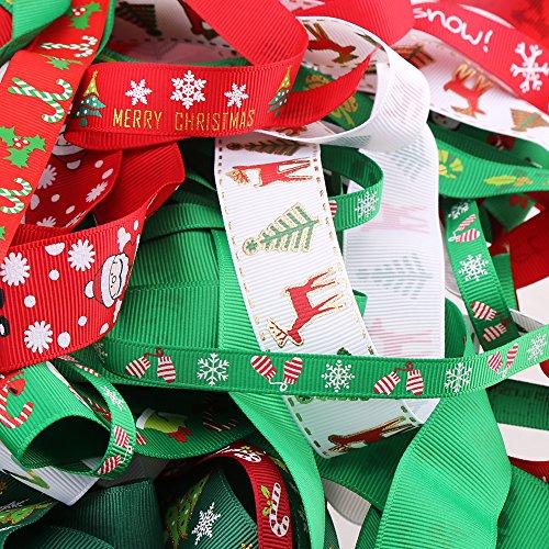 24M 12patrones Navidad tema Grosgrain lazos para regalo y manualidades de vacaciones por veylin