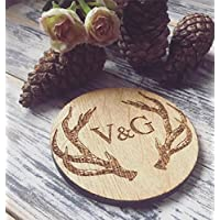 Personalised Stag Initial Coaster (Couple Anniversary, Wedding Favour, Wedding gift)