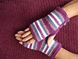 Small to Medium Crochet Fingerless Gloves Purple Pink and White With Buttons
