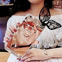 sycode Galaxy A52017espejo caso, Galaxy A52017Glitter Caso, suave TPU goma Bumper Case Lovely Cute lujo Rhinestone Bling Diamante Glitter maquillaje espejo carcasa con anillo soporte y belleza negro conejo oído protector carcasa transparente Carcasa para Samsung Galaxy A52017-gold