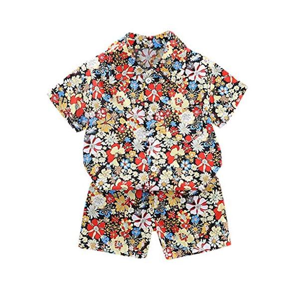 YWLINK Traje De NiñO De 1-4 AñOs Verano Mezcla De AlgodóN Camisa con Estampado Hawaiano Camiseta Casual De Manga Corta… 2
