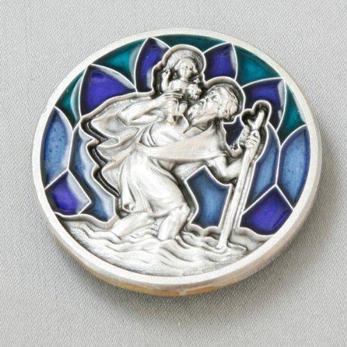 Autoplakette Christophorus, silber-farben und blau, 3 cm