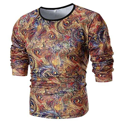 UJUNAOR Mode Herren Persönlichkeit Slim Fit Casual Langarm Bedruckte Shirt Top ()