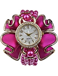 KMS Analog White Dial Women's Watch - PINK_Pearl_Flower_LongBelt