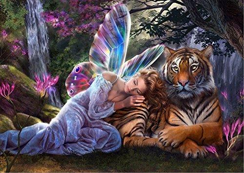 5D diamant malerei kit diy strass stickerei kreuzstich künste handwerk für home wand-dekor 11,8 * 15,7 zoll (30 * 40 cm) tiger mädchen mit flügeln
