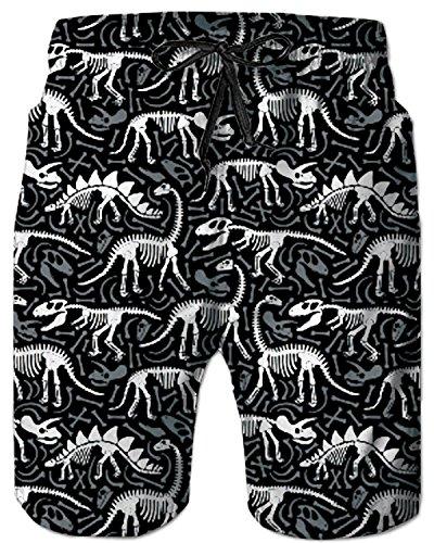 Tuonroad costume mare pantaloncino uomo,dinosauro fossile stampa maschio pantaloncini estivi casual costume da bagno uomo