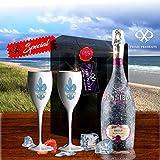 Sansibar Rosé Spumante Geschenk-Set|inkl. 2 weisser Champagner-Gläser mit französischer Lilie| Luxus für Frau & Freundin |Sylt Sommer Special |Geschenkkarte Ice