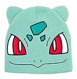 Meroncourt Pokemon Bulbasaur Big Face Cuffless Beanie with Ears, One Size, Turquoise (Kc130924Pok) Bonnet, Taille Unique Mixte