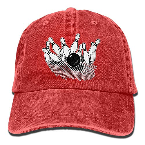 shyly Unisex Baseball Cap Baumwolle Denim Hut Bowlingkugel Markante Bowling Pin verstellbare Snapback Sonnenhut