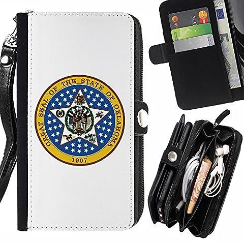 STPlus Oklahoma, The Sooner State Flagge USA Vereinigte Staaten von Amerika Geldbörsenhalter mit Handschlaufe und Reißverschluss Hülle Schutzhülle für LG G6