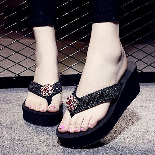 Caractères à talons hauts Sandales de diamants Pente d'été féminin avec des pantoufles de mode antidérapantes Pour les loisirs de vacances ( Couleur : 1005 , taille : 39 ) 1003