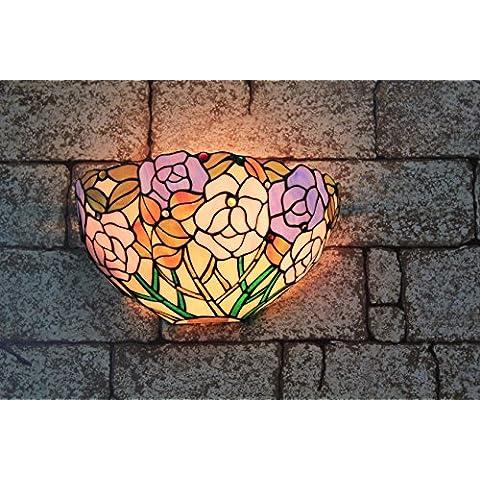 12 pulgadas de la vendimia Pastoral del vitral de Tiffany Rose romántica lámpara de pared Pasillo aplique de la pared de la lámpara Fixture