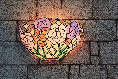12 pouces Vintage pastorale Stained Glass Tiffany Rose romantique Applique Couloir Applique murale Lampe Mobilier