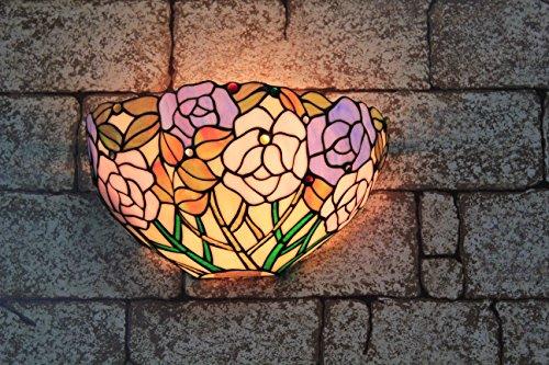 Broncos 12 pouces Vintage Pastoral Vitrail Tiffany Rose romantique Applique Couloir Applique murale Lampe Mobilier