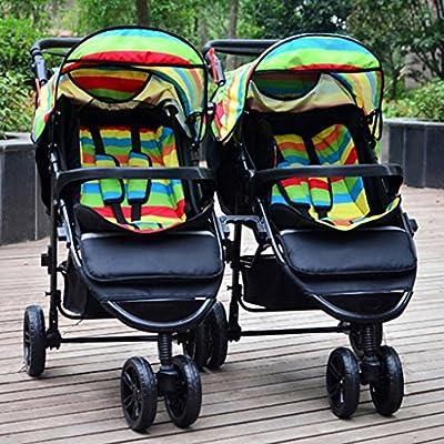 Portátil Doble cochecito de bebé Tela de tela Oxford Ajuste Sombrilla Toldo Amortiguador Cuatro ruedas pueden sentarse / mentir Carro plegable plegable Carro de bebé desmontable Neumático del amortigu
