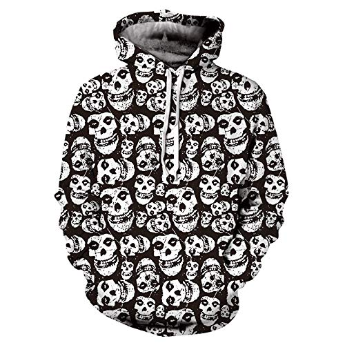 Herren Hoodie,TWBB Kapuzenpullover Mit Tasche 3D Schädel Drucken Lange Ärmel Sweatshirt Pullover Mantel Outwear Sweatjacke Hemd