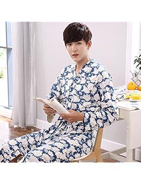 Mangeoo pijamas de manga larga en primavera y otoño, pijamas de mediana edad y edad para hombres, kimono de algodón...