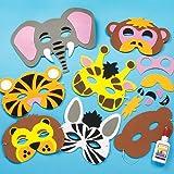 Kit de caretas de animales de la selva de espuma (mono, tigre, león, elefante, cebra, jirafa) que los niños pueden crear y usar (pack de 6).