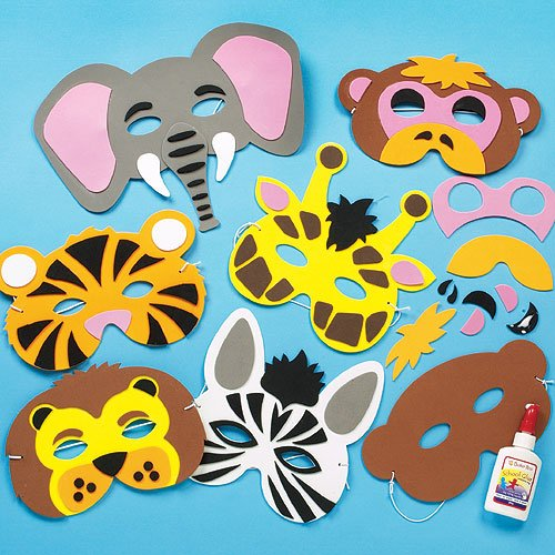 Bastelset für Masken aus Schaumstoff - Tiere des Dschungels - für Kinder ideal zum Kindergeburtstag und Karneval - 6 (Masken Für Tier Kinder)