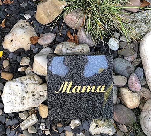 Stone & More Grab Placa con Grabado Placa de Mama Granito Impala Lápida liegestein urna Piedra 20cm x 20cm x 5cm con Grabado Mamá Mamá Lápida Impala