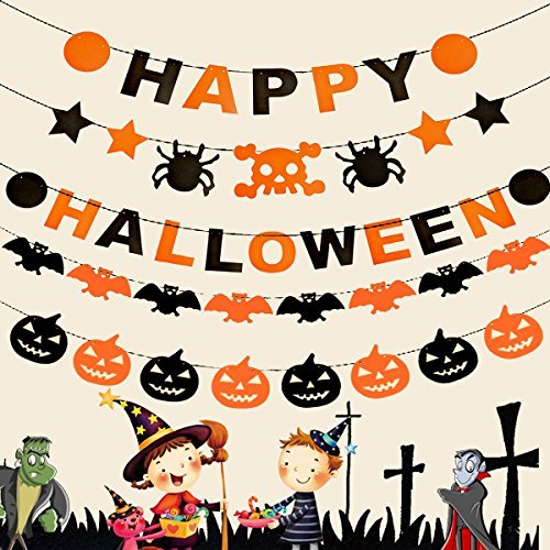 Banner-Set mit Kürbis-Fledermaus-Girlande für Halloween-Party ()